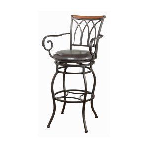 29″ Decorative Back Swivel Bar Stool Brown And Bronze