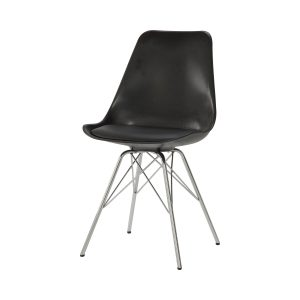 Armless Dining Chairs Black And Chrome (Set Of 2)