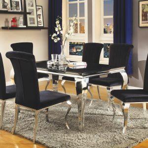 Carone Rectangular Dining Table Chrome And Black