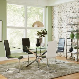 Carmelo X-Shaped Dining Table Chrome And Clear