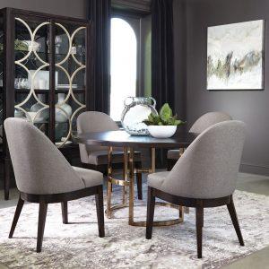 Benton Round Dining Table Dark Brown And Rose Brass