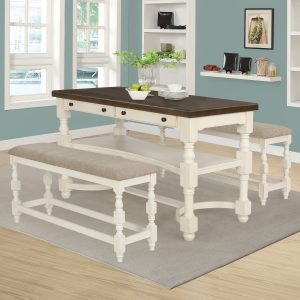 Clanton 2-Drawer Counter Height Table Antique Cream And Espresso