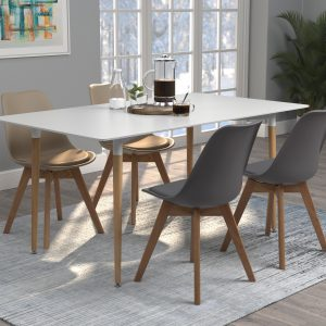 Breckenridge Rectangle Dining Table Matte White And Natural Oak