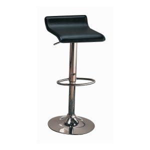 29″ Upholstered Backless Adjustable Bar Stools Black And Chrome (Set Of 2)