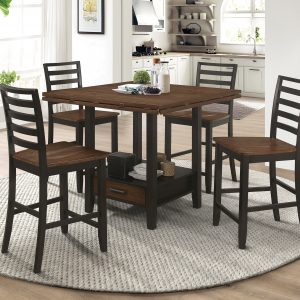 Sanford Round Counter Height Table With Drop Leaf Cinnamon And Espresso