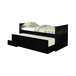 Twin Captain's Daybed With Storage Trundle Black