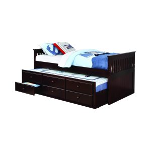 Twin Captain's Daybed With Storage Trundle Cappuccino