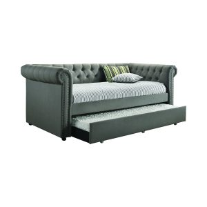Kepner Tufted Upholstered Daybed Grey With Trundle