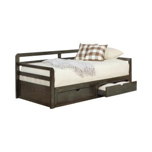 Sorrento 2-Drawer Twin Daybed With Extension Trundle Grey