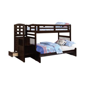 Dublin 4-Storage Twin Over Full Bunk Bed With Staircase Cappuccino