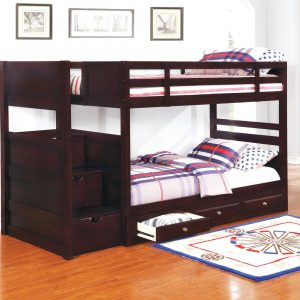 Elliott Twin Over Twin Stairway Bunk Bed Cappuccino