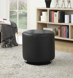 Round Upholstered Ottoman Black