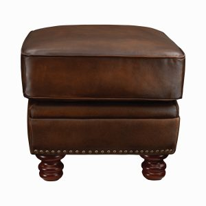 Montbrook Nailheads Ottoman Hand Rubbed Brown