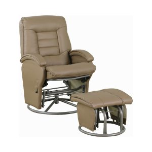 Swivel Glider Recliner With Ottoman Beige And Black