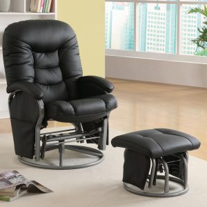 Push-Back Glider Recliner With Ottoman Black