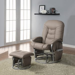 Push-Back Glider Recliner With Ottoman Beige And Silver