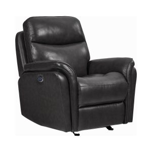 Pillow Top Arms Upholstered Power^3 Glider Recliner Charcoal