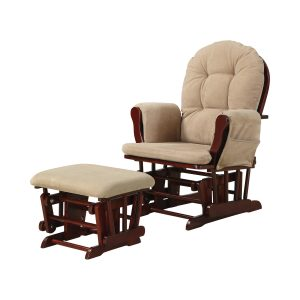 Upholstered Glider Rocker With Ottoman Tan