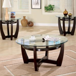 3-Piece Round Occasional Table Set Cappuccino