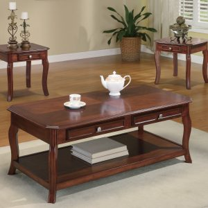 3-Piece Occasional Table Set With Drawers Light Bourbon