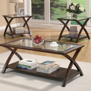 3-Piece X-Shaped Occasional Table Set Rich Cappuccino