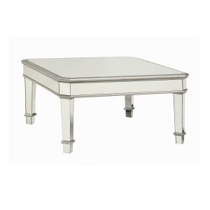 Cassandra Square Beveled Top Coffee Table Silver