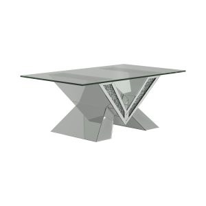 Caldwell V-Shaped Coffee Table With Glass Top Silver