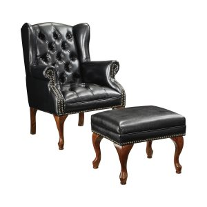 Button Tufted Back Accent Chair With Ottoman Black And Espresso
