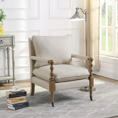 Upholstered Accent Chair With Casters Beige