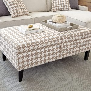 Upholstered Storage Ottoman Beige And White