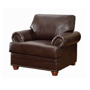 Colton Rolled Arm Upholstered Chair Brown