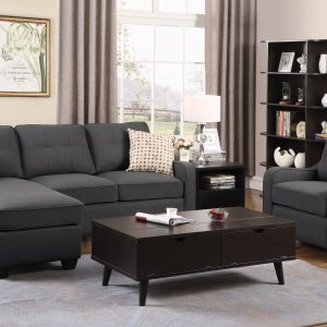 Nicolette Upholstered Tufted Sectional Dark Grey
