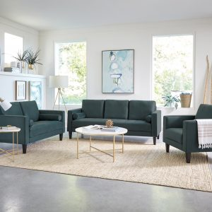 Gulfdale Cushion Back Upholstered Sofa Dark Teal