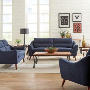 Gano Sloped Arm Upholstered Sofa Navy Blue