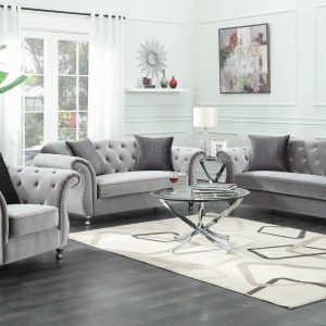 Frostine Button Tufted Sofa Silver