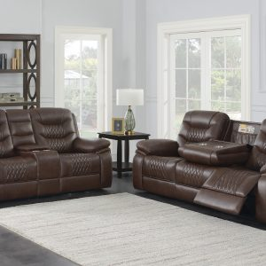Flamenco Tufted Upholstered Motion Sofa Brown