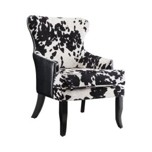 Cowhide Print Accent Chair Black And White