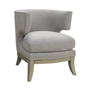 Barrel Back Accent Chair Grey And Weathered Grey