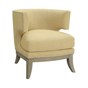 Barrel Back Accent Chair Bumblebee Yellow And Weathered Grey