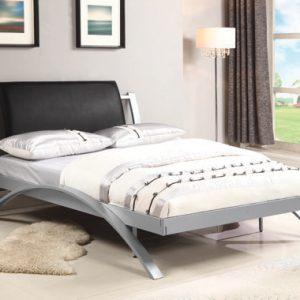Leclair Full Metal Bed Black And Silver