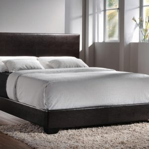 Conner Twin Upholstered Panel Bed Dark Brown