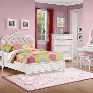 Caroline Full Upholstered Storage Bed Pink And White