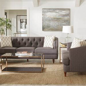 Shelby 3-Piece Tufted Upholstered Living Room Set Grey And Brown