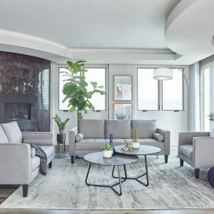 Lennox 2-Piece Track Arm Upholstered Living Room Set Charcoal