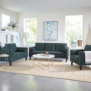 Gulfdale 2-Piece Cushion Back Upholstered Living Room Set Dark Teal