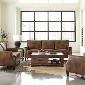 Leaton 2-Piece Recessed Arms Living Room Set Brown Sugar