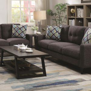 Watsonville 3-Piece Cushion Back Living Room Set Grey