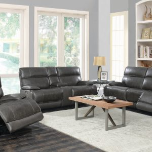Stanford Cushion Back Power Sofa Charcoal